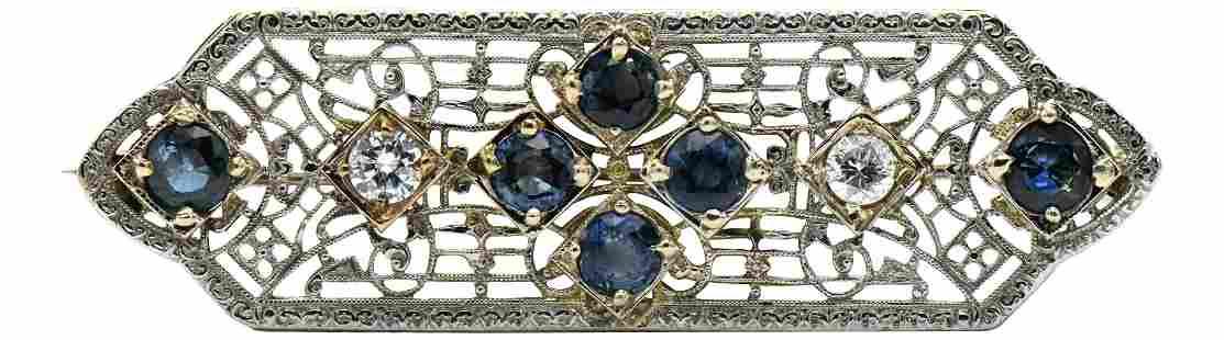 10 Karat Gold, Diamond, & Sapphire Brooch