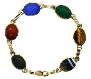 14 Karat Gold Scarab Bracelet