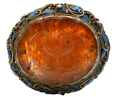Carnelian, Enamel & Sterling Silver Brooch
