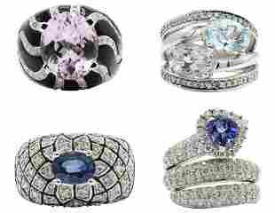 Group of Four Gold & Gemstone Rings
