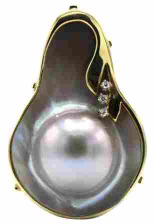14 Karat Yellow Gold Blister Pearl Pendant