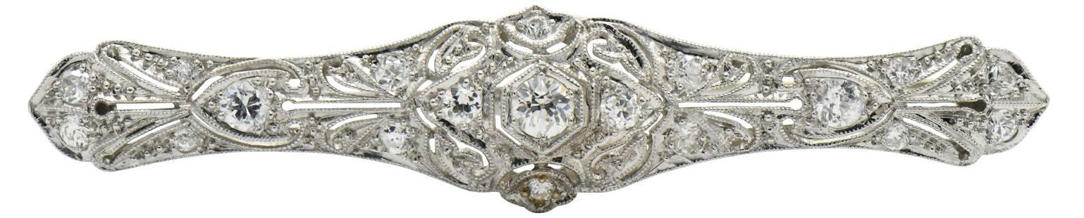 Platinum & Diamond Art Deco Bar Brooch