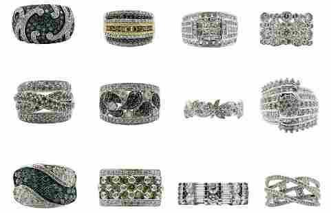 Group of 10 Karat Gold & Diamond Rings