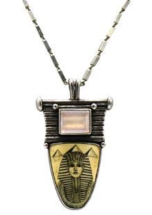 Silver, Scrimshaw, & Rose Quartz Necklace