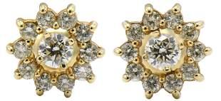 14 Karat Yellow Gold & Diamond Earrings