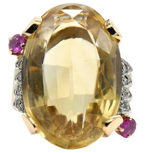 14 Karat Gold, Citrine, Diamond, & Ruby Ring