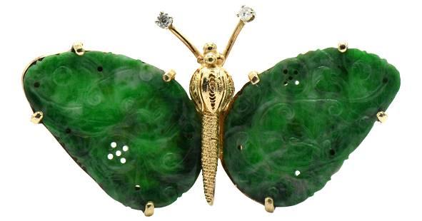 Gold, Diamond & Jade Butterfly Brooch/Pendant