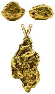 14 Karat Gold Nugget Pendant & Earrings
