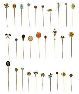 Group of 10 Karat Gold Hat Pins