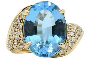 14 Karat Gold, Diamond & Topaz Ring