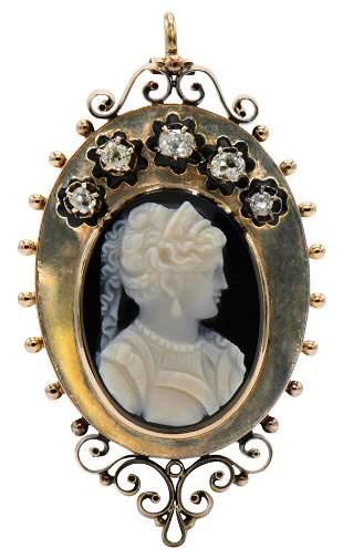 14 Karat Gold & Diamond Cameo Brooch/Pendant