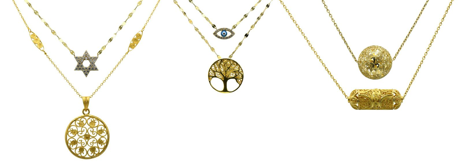 Group of Yellow Gold Filigree Necklaces