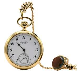 Davis & Hawley Co. Gold Open Face Pocket Watch