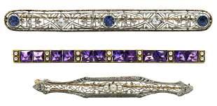 Three 14 Karat Gold Bar Pins