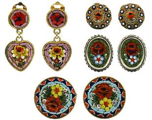 Group of Micro Mosaic Clip on Earrings