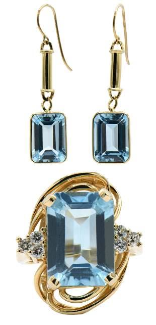 Aquamarine & Diamond Ring and Earrings