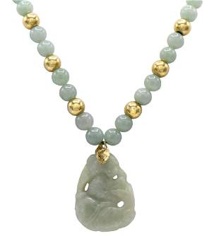 Jade & Gold Beaded Necklace