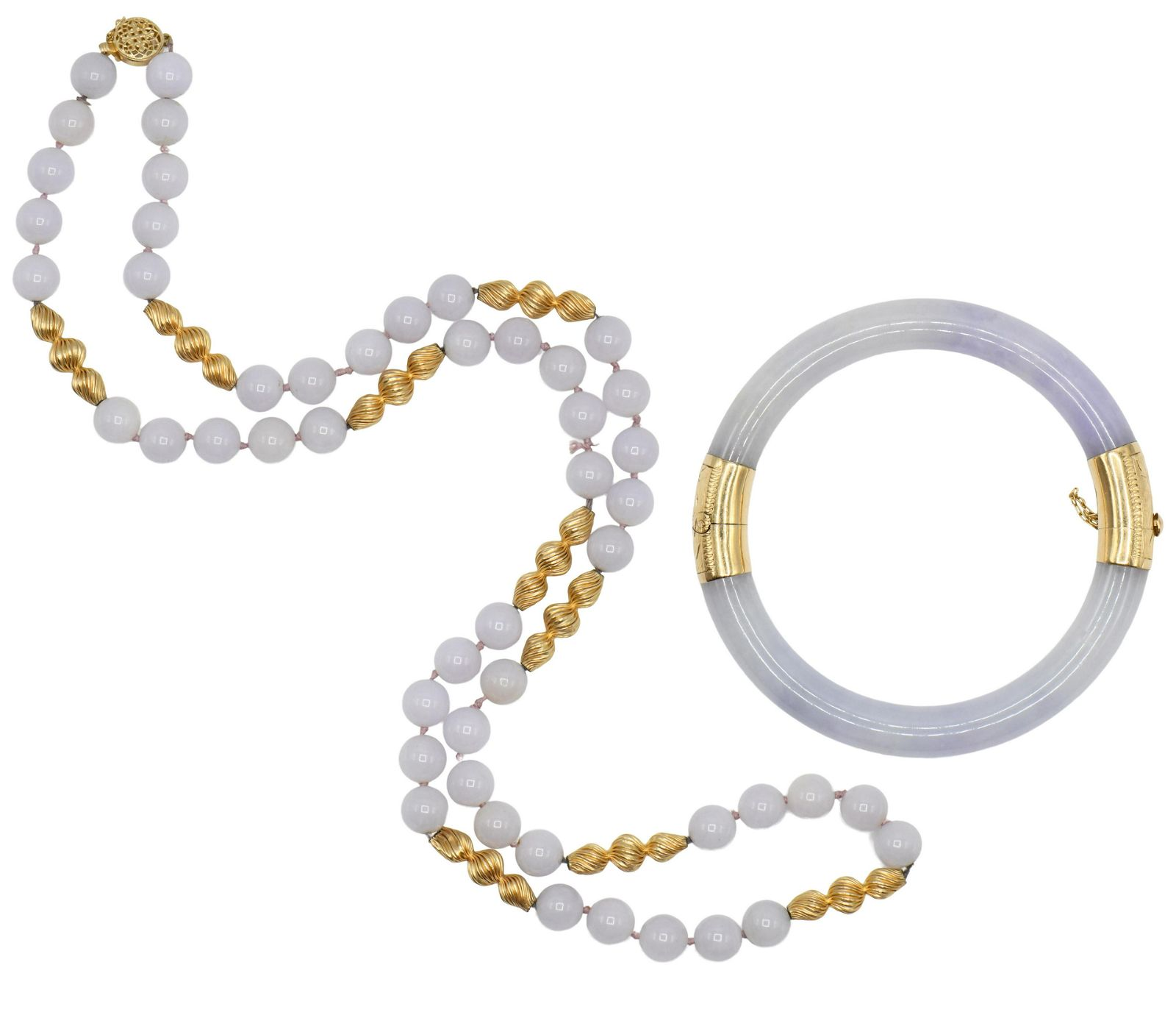 Jade Beaded Necklace & Bangle
