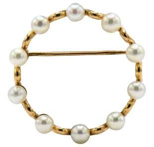 14 Karat Gold & Pearl Brooch