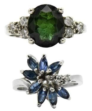Two 14 Karat Gold & Gemstone Rings