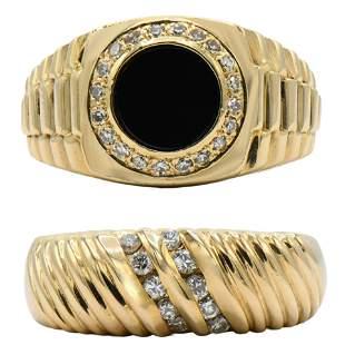 Two 14 Karat Gold & Diamond Rings