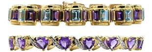 Two 14 Karat Yellow Gold & Gemstone Bracelets