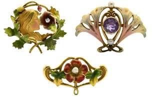 Three 14 Karat Art Nouveau Brooches