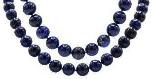 Two Azurite Beaded Necklace