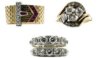 Three 10 Karat Gold Rings
