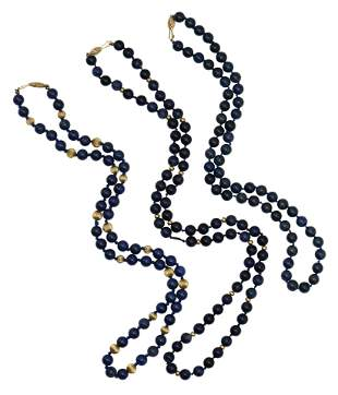 Three 14 Karat Gold & Azurite Beaded Necklaces