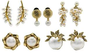 Group of 14 Karat Gold and Pearl Earrings