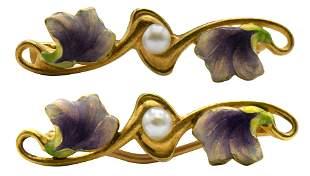 Two 14 Karat Gold Art Nouveau Pins