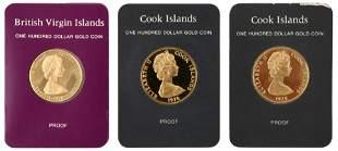 Three Franklin Mint Commemorative Gold Coins