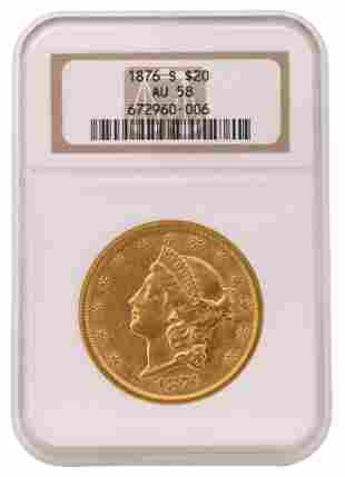 1876-S Liberty Head Double Eagle $20 Gold Coin