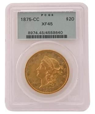 1875-CC Liberty Head Double Eagle $20 Gold Coin