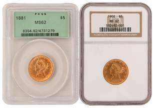Two $5 Liberty Head Gold Eagle Coins