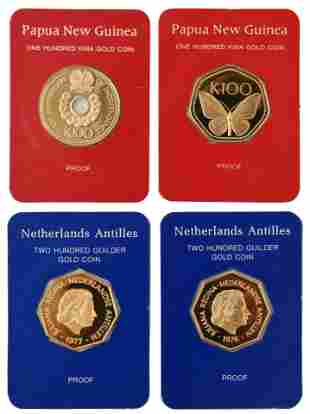 Four Franklin Mint Commemorative Gold Coins