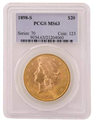 1898-S Liberty Head Double Eagle $20 Gold Coin