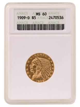 1909-D $5 Indian Head Eagle Gold Coin