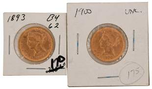 1893 & 1900 $5 Liberty Head Gold Eagle Coins