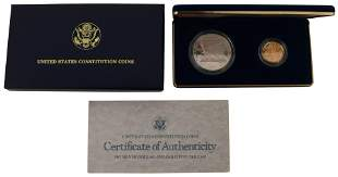 1987 Proof Silver Dollar & $5 Gold Coin