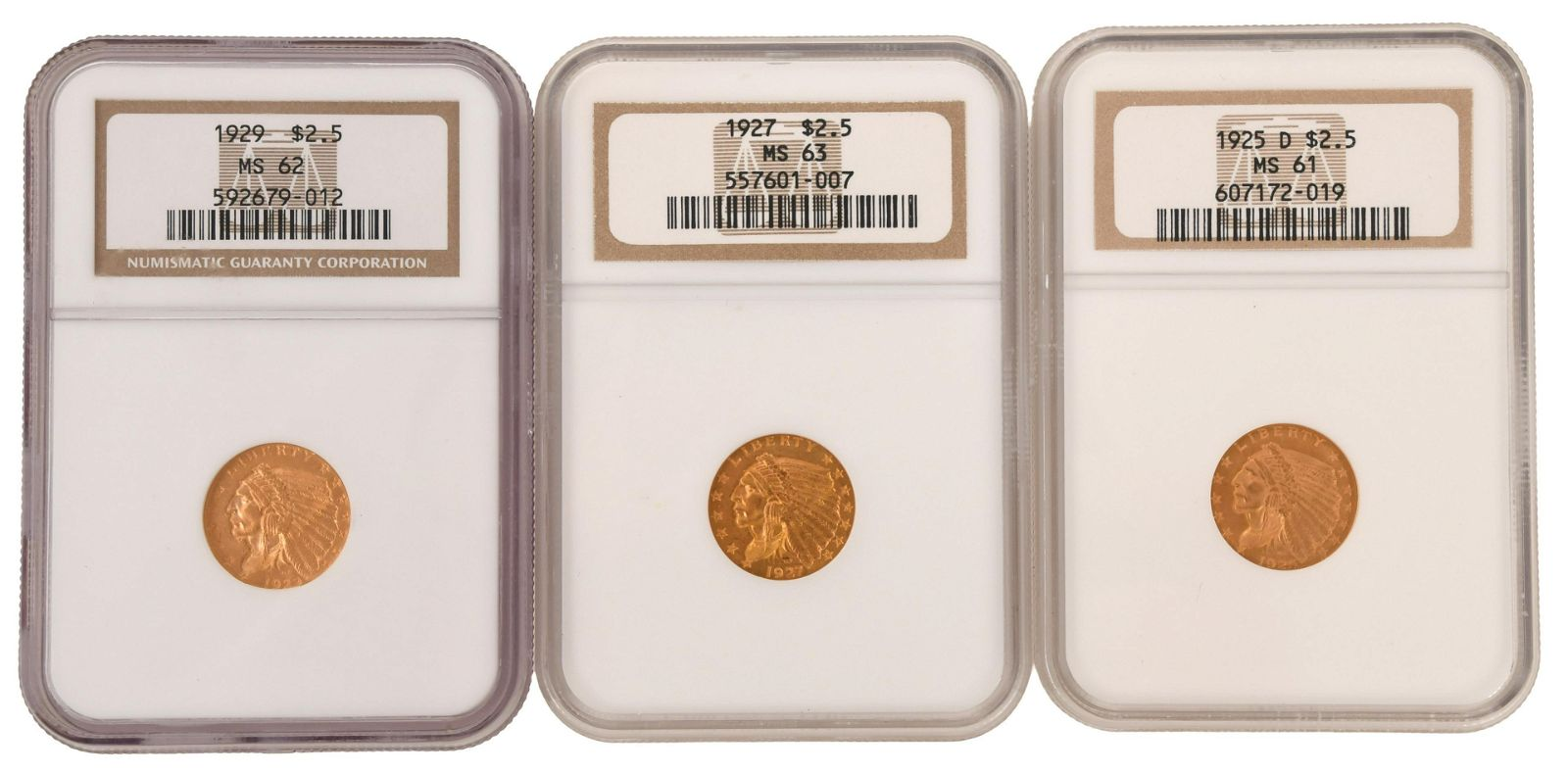 Three $2.5 Indian Head Eagle Gold Coins