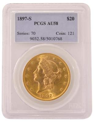 1897-S Liberty Head Double Eagle $20 Gold Coin