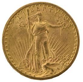1908 Saint-Gaudens Double Eagle $20 Gold Coin