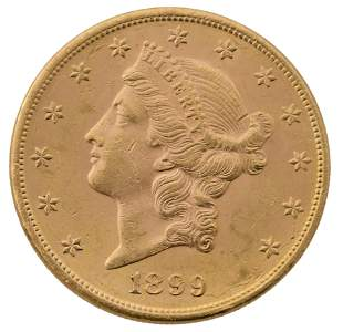 1899 Liberty Head Double Eagle $20 Gold Coin