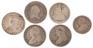 Lot of Five Silver Half Dollars & One Quarter