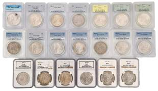 Lot of 20 Graded Morgan Silver Dollars