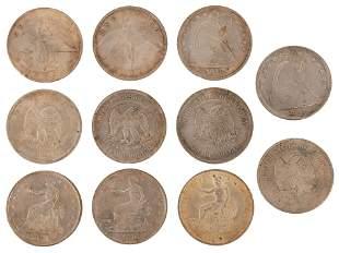 Group of Nine Silver Dollars & Two Pesos