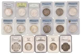 Lot of 17 Graded Morgan Silver Dollars