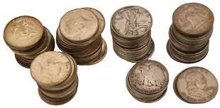 Lot of 93 American Silver Half Dollars